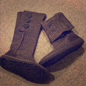 UGG Classic Cardy Brown & Gold Metallic Knit Boot